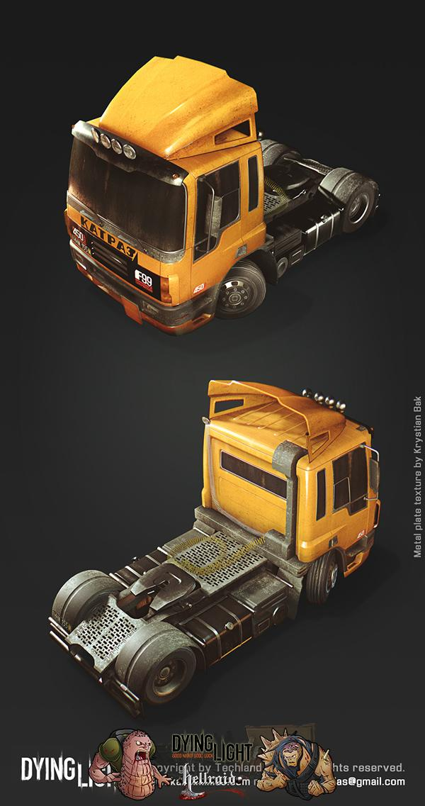Dying Light 3D Art - взгляд на один из автомобилей изнутри-3