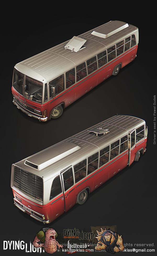 Dying Light 3D Art - взгляд на один из автомобилей изнутри-5